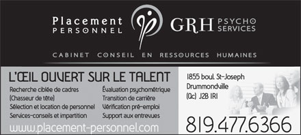 Placement Personnel GRH Psycho Services (819-870-2152) - Annonce illustrée