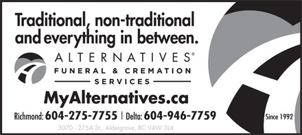 Alternatives Funeral & Cremation Services (604-275-7755) - Annonce illustrée