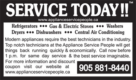 Appliance Service People The (905-881-8440) - Annonce illustrée