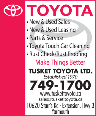 Tusket Toyota Ltd (902-749-1700) - Display Ad - Established 1970 Established 1970