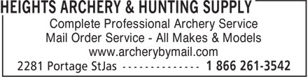 Heights Archery (204-832-4421) - Display Ad - Mail Order Service - All Makes & Models www.archerybymail.com Complete Professional Archery Service Mail Order Service - All Makes & Models Complete Professional Archery Service www.archerybymail.com
