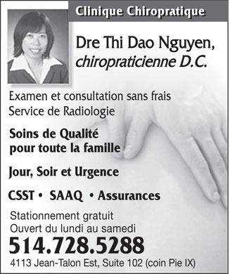 Clinique Chiropratique Dre Thi Dao Nguyen (514-728-5288) - Display Ad