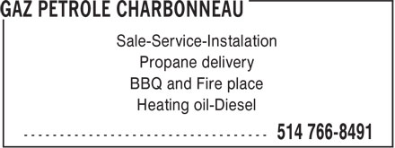 Gaz Pétrole Charbonneau (514-766-8491) - Display Ad