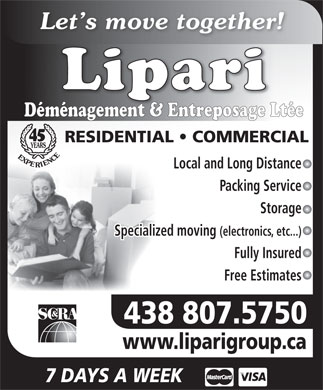 Lipari Déménagement & Entreposage Ltée (438-896-1607) - Display Ad