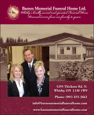 Barnes Memorial Funeral Home Ltd (905-655-3662) - Annonce illustrée