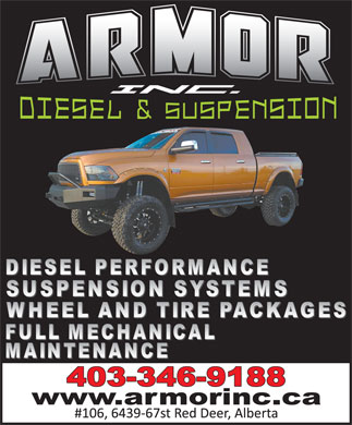 Armor Inc Diesel & Suspension (403-346-9188) - Display Ad