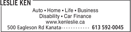Ken Leslie (613-592-0045) - Annonce illustrée - Auto • Home • Life • Business Disability • Car Finance www.kenleslie.ca