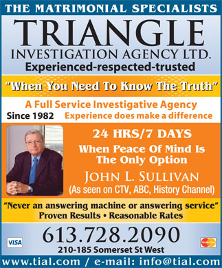 Triangle Investigation Agency Ltd (613-909-7396) - Display Ad
