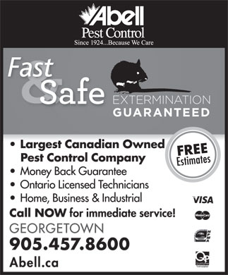 Abell Pest Control (905-457-8600) - Display Ad
