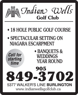 Indian Wells Golf Club (905-849-3702) - Annonce illustrée - www.indianwellsgolfclub.ca