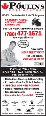 Poulin's Pest Control (780-477-1671) - Display Ad