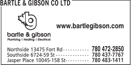 Bartle & Gibson Co Ltd (780-472-2850) - Annonce illustrée - www.bartlegibson.com