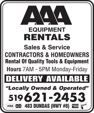 AAA Equipment Rentals & Sales (519-621-2453) - Display Ad