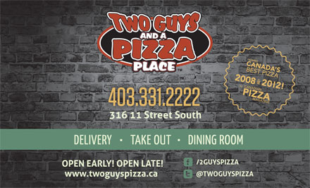 Two Guys & A Pizza Place (403-331-2222) - Annonce illustrée