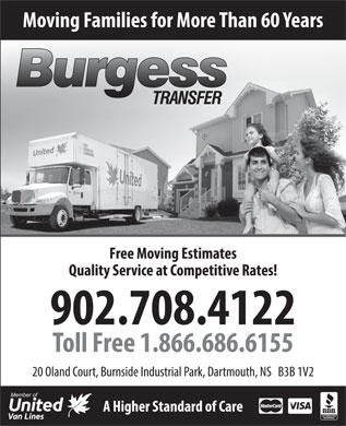 Burgess Transfer & Storage Limited (902-704-2943) - Annonce illustrée
