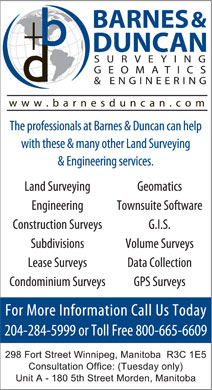 Barnes & Duncan Land Surveying & Engineering (204-515-3139) - Annonce illustrée