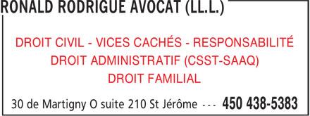 Ronald Rodrigue Avocat (LL.L.) (450-438-5383) - Display Ad -